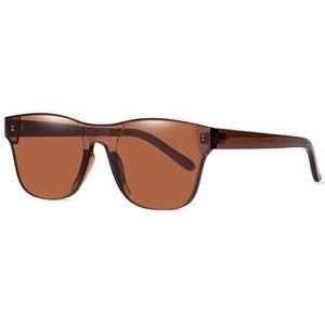 Rimless Wayfarer Sunglasses Retro Brown Classic